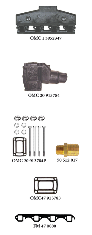 OMC (FORD) V8-5.0L and 5.8L COBRA All Models Carbureted CENTER RISER DIRECT REPLACEMENT