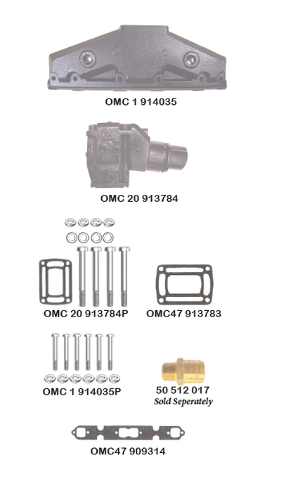 OMC/VOLVO V8-307 and 350 C.I.D. COBRA All Models CENTER RISER DIRECT REPLACEMENT