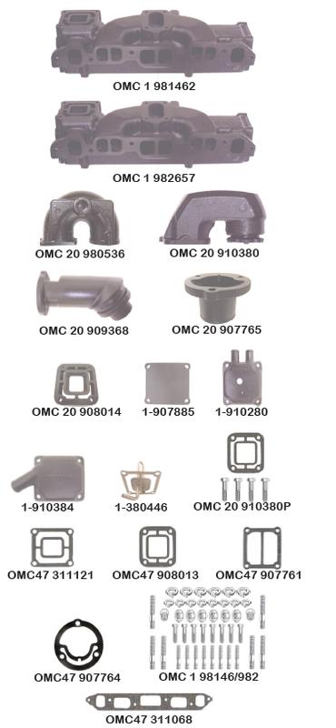Barr OMC-1-914035P OMC//Volvo Penta Exhaust Manifold Mounting Kit