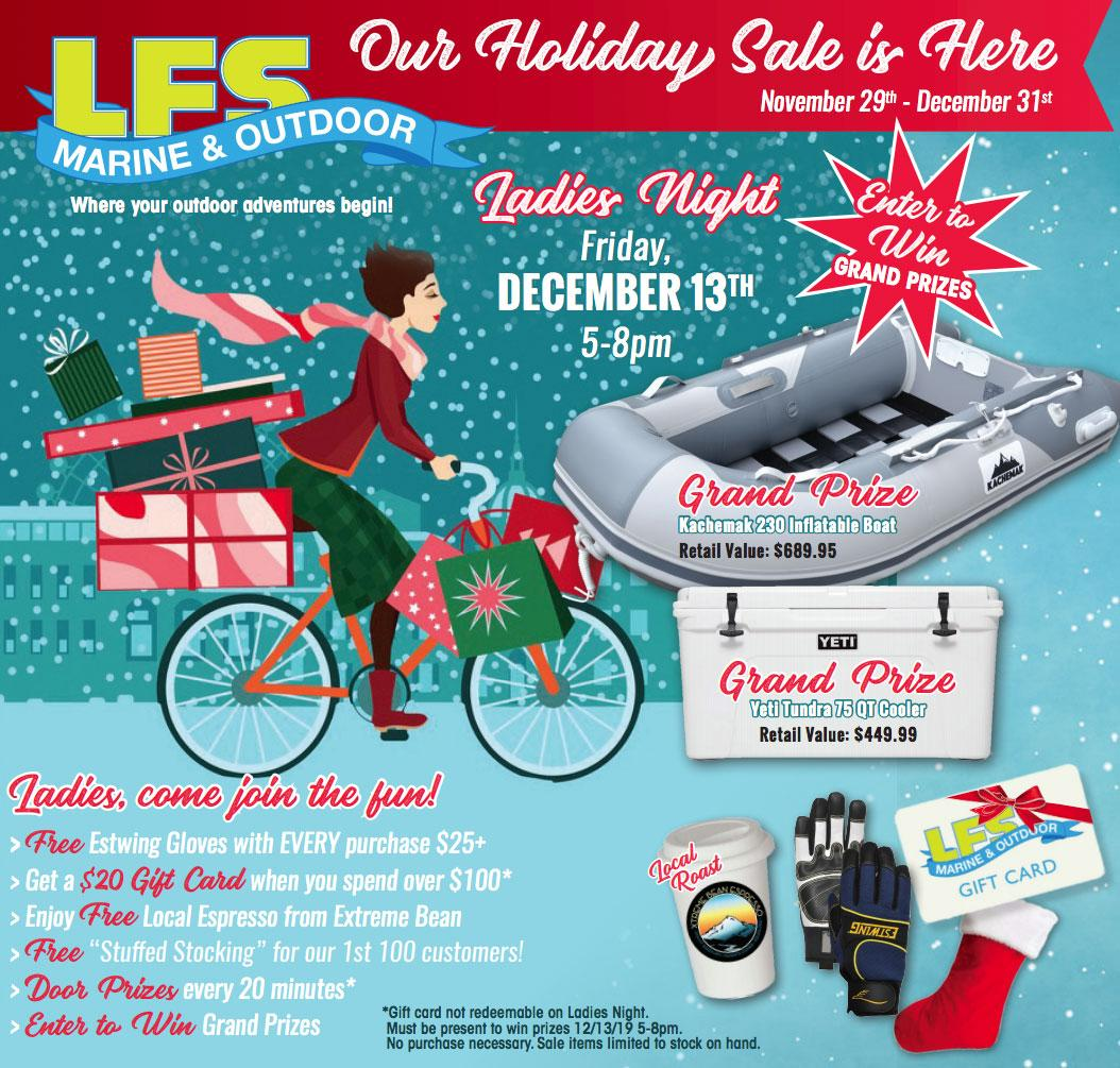 Ladies Night Dec 13th, Shop for Holiday Specials at our Bellingham Store Nov 29th - Dec 31st